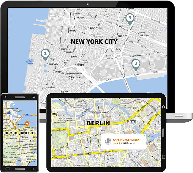The mapz API allows the integration of maps into websites and mobile apps.