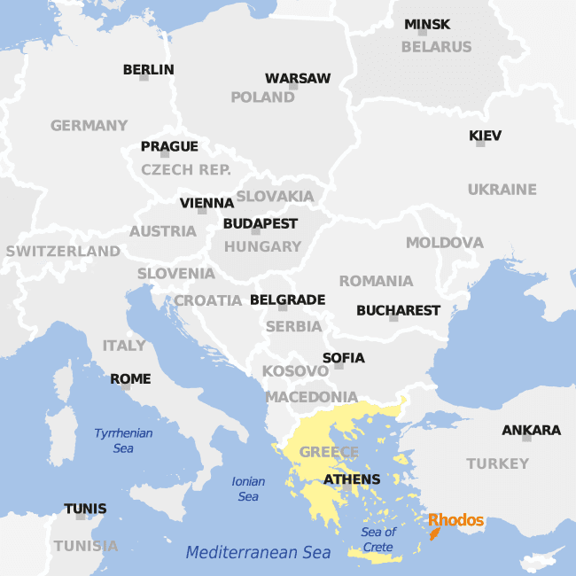 An example of country highlighting, using a map of Greece